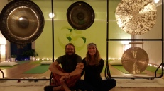 Me and Andrea prepping for Jivamukti-Gong session :-)